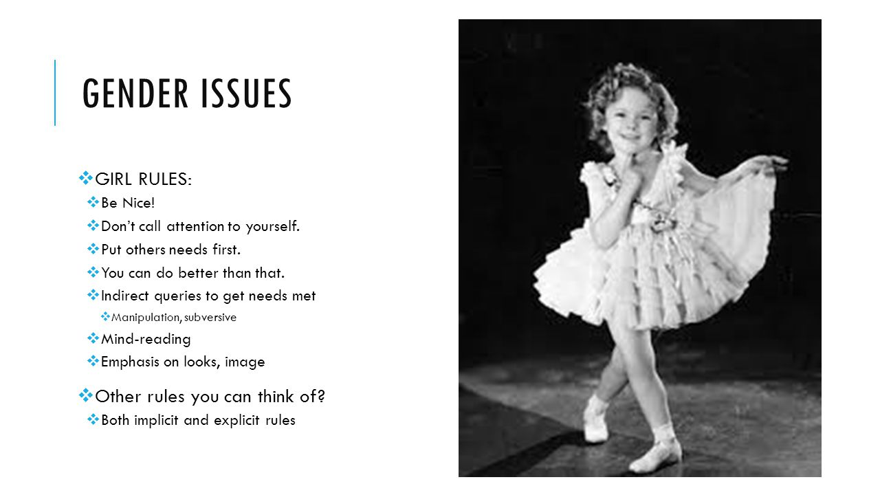 Gender issues GIRL RULES: Other rules you can think of Be Nice!