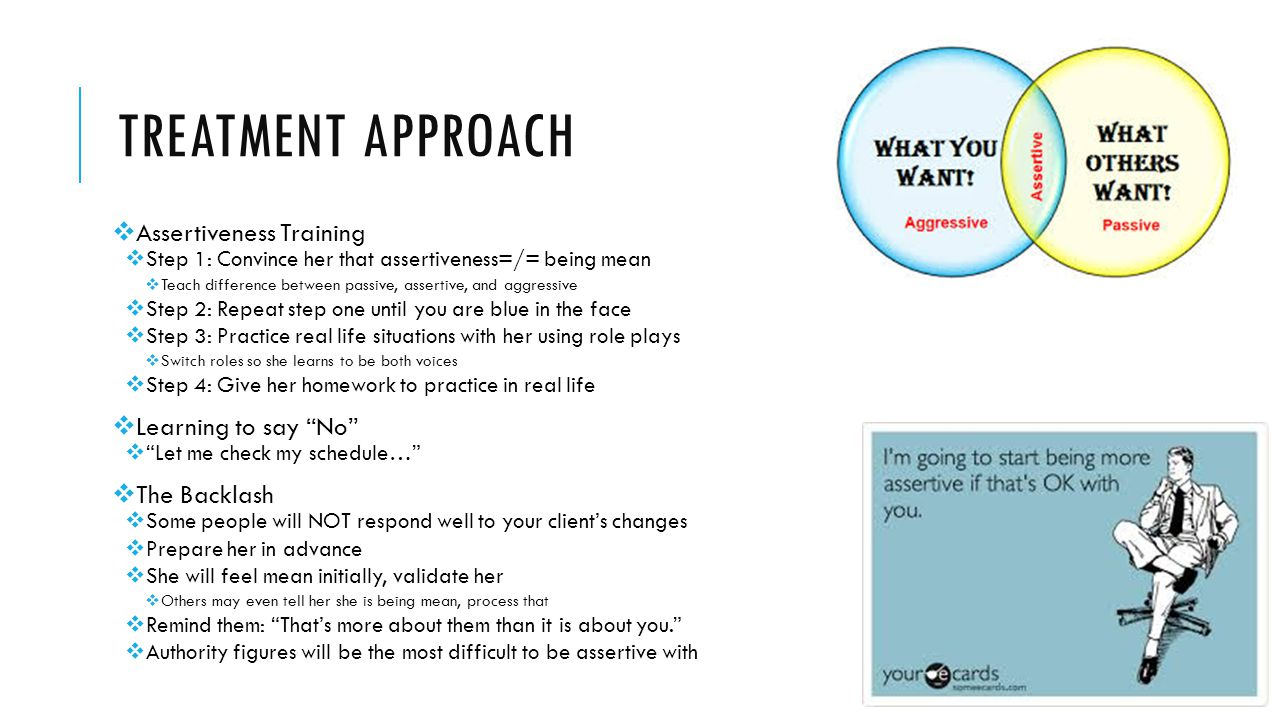 Treatment approach Assertiveness Training Learning to say No