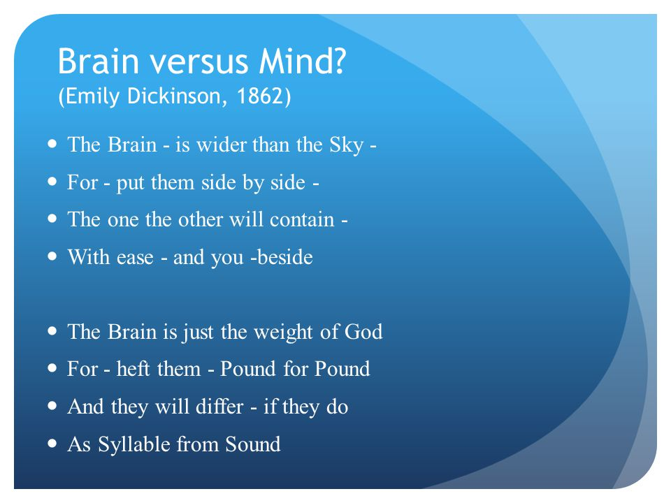 Brain versus Mind (Emily Dickinson, 1862)