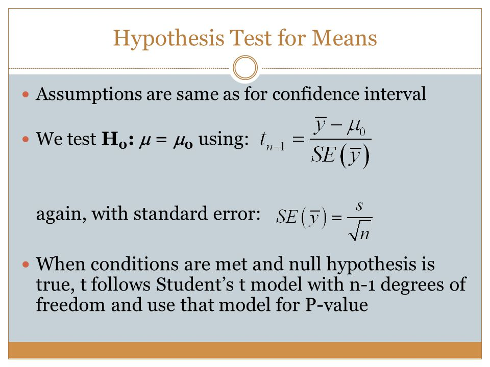 Hypothesis Test for Means