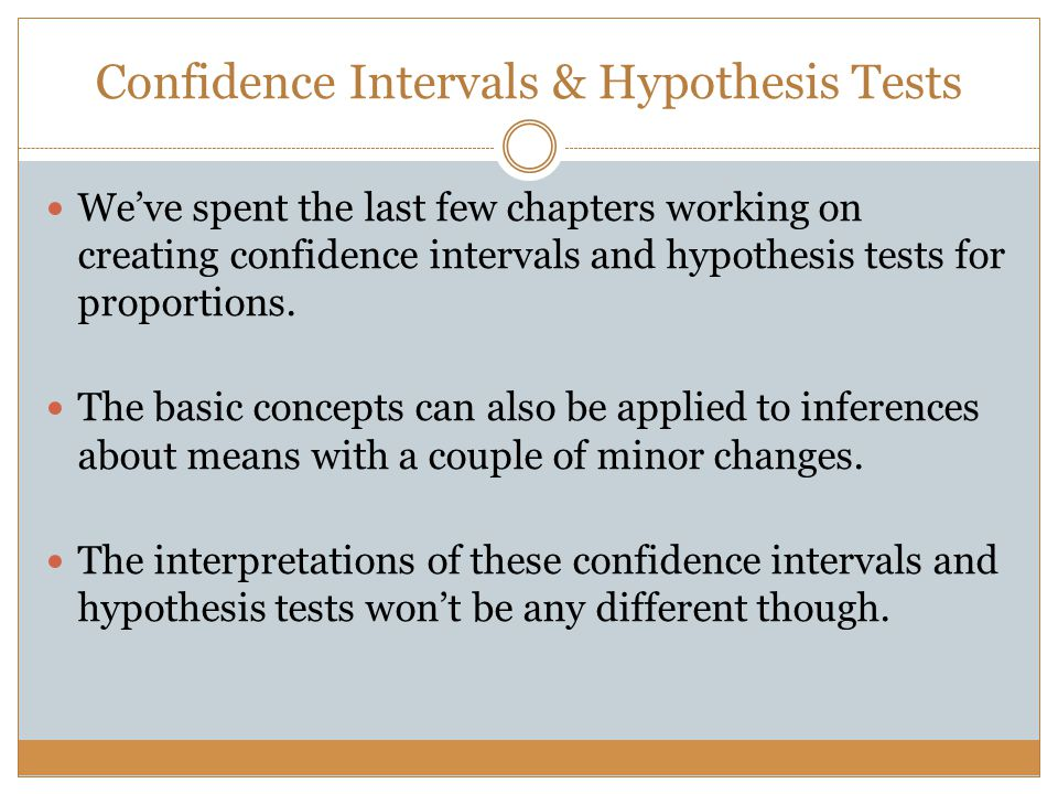 Confidence Intervals & Hypothesis Tests