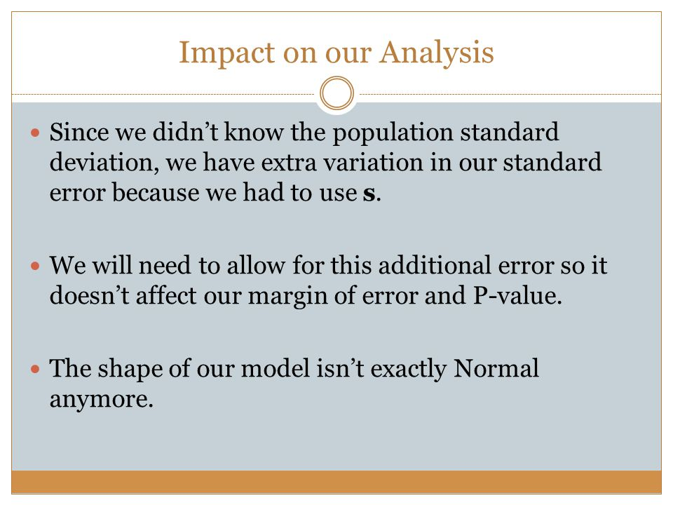Impact on our Analysis Since we didn't know the population standard deviation, we have extra variation in our standard error because we had to use s.
