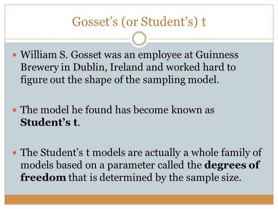 Gosset's (or Student's) t