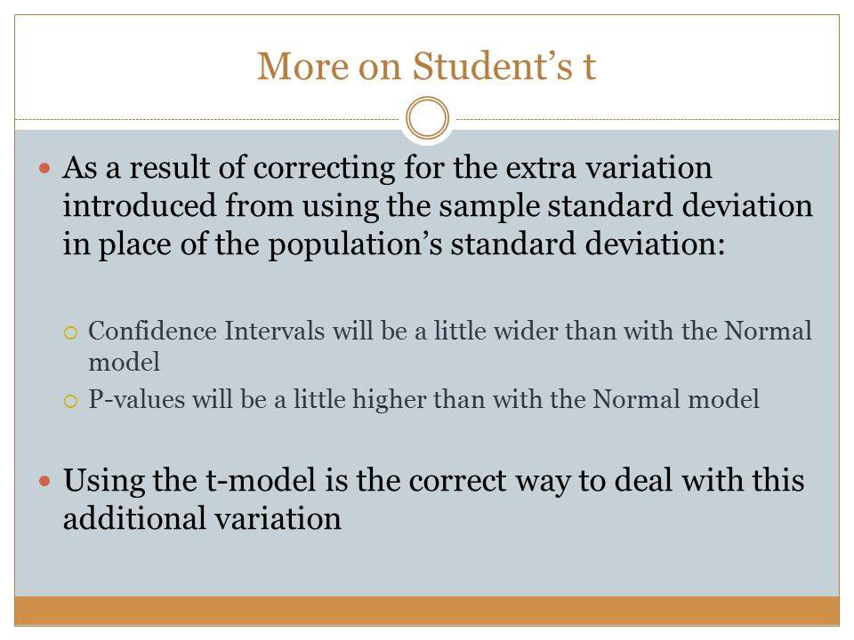 More on Student's t