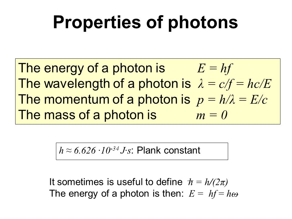 Properties of photons The energy of a photon is E = hf