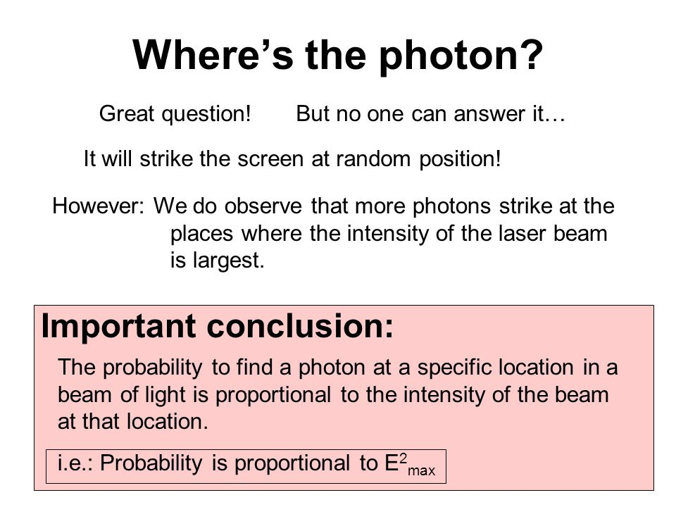 Where's the photon Important conclusion: Great question!