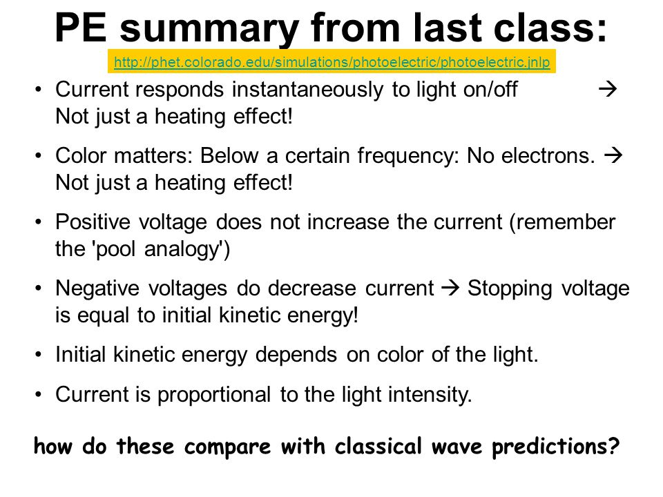 PE summary from last class: