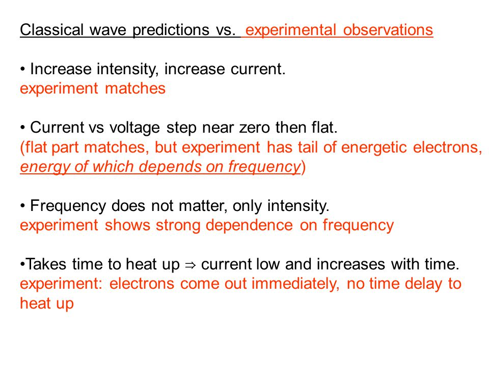 Classical wave predictions vs. experimental observations