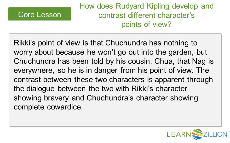 How does Rudyard Kipling develop and contrast different character's
