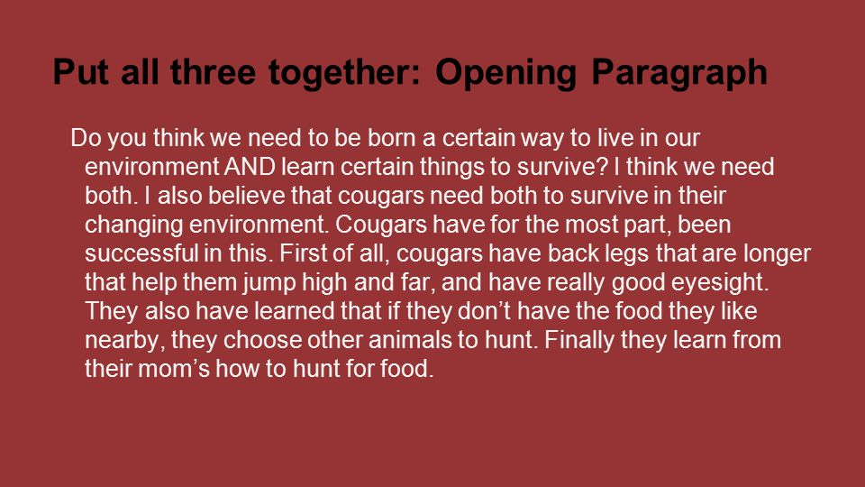 Put all three together: Opening Paragraph