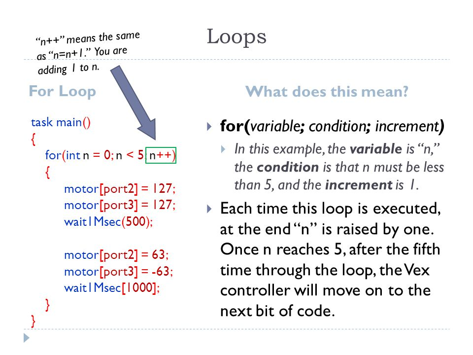 Loops for(variable; condition; increment)