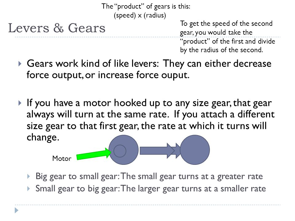 The product of gears is this: