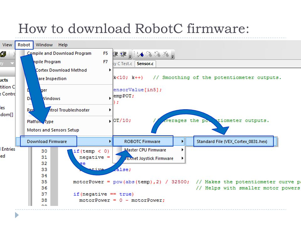 How to download RobotC firmware: