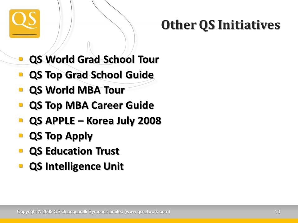 Other QS Initiatives QS World Grad School Tour