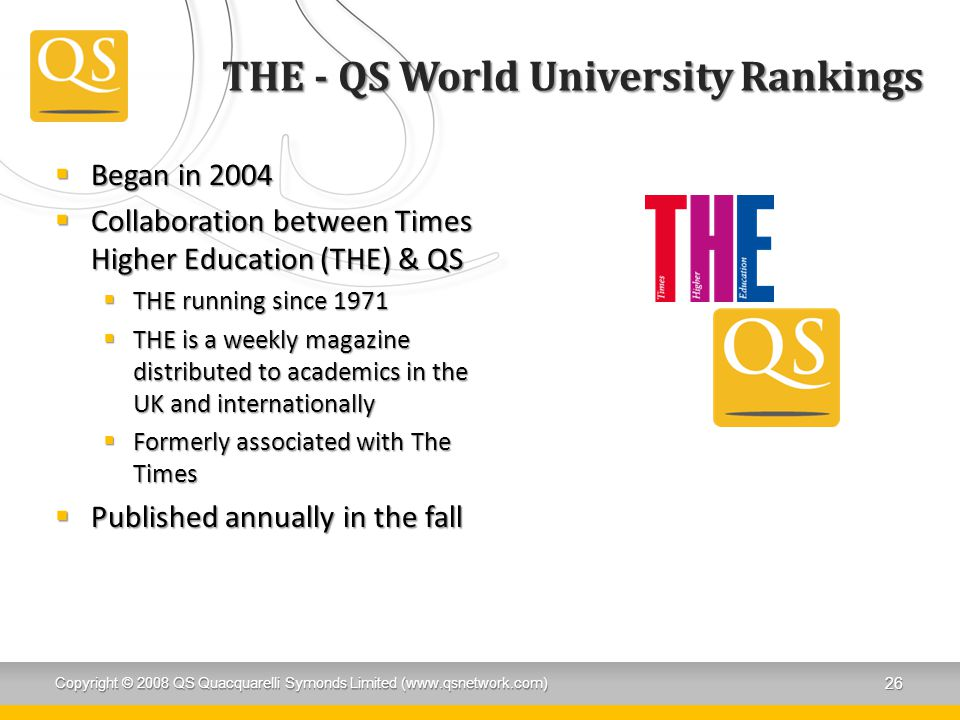 THE - QS World University Rankings