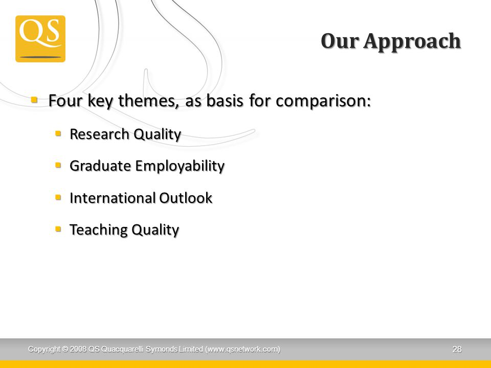 Our Approach Four key themes, as basis for comparison: