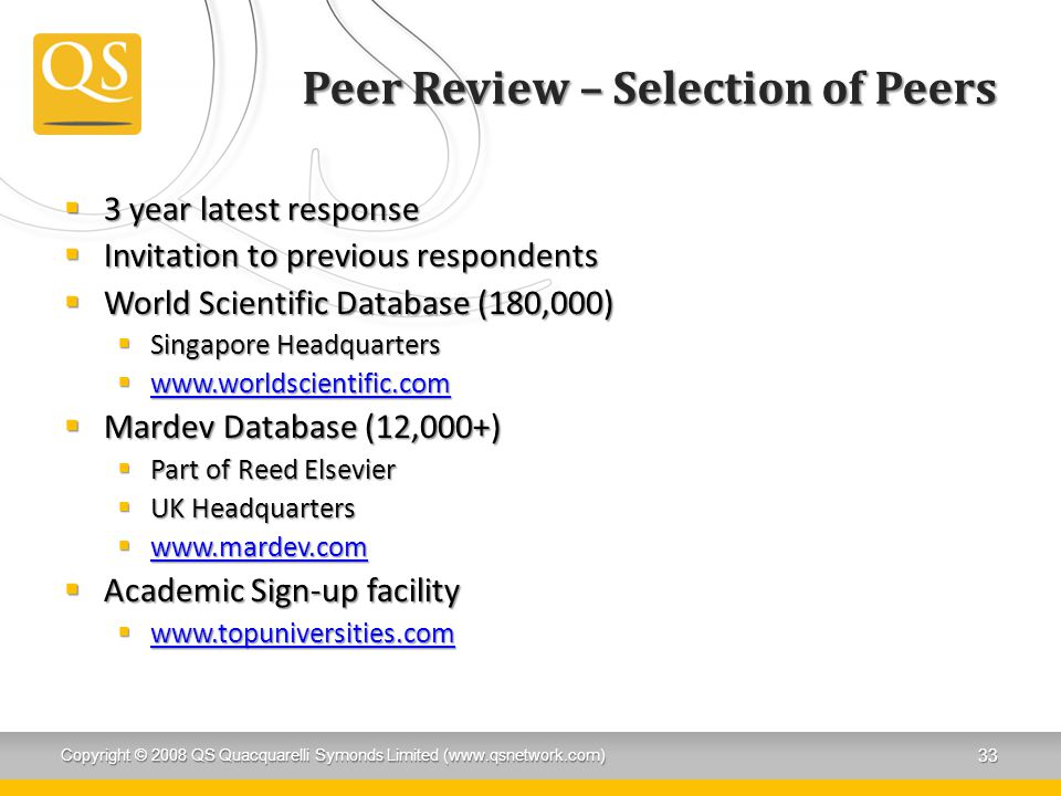 Peer Review – Selection of Peers