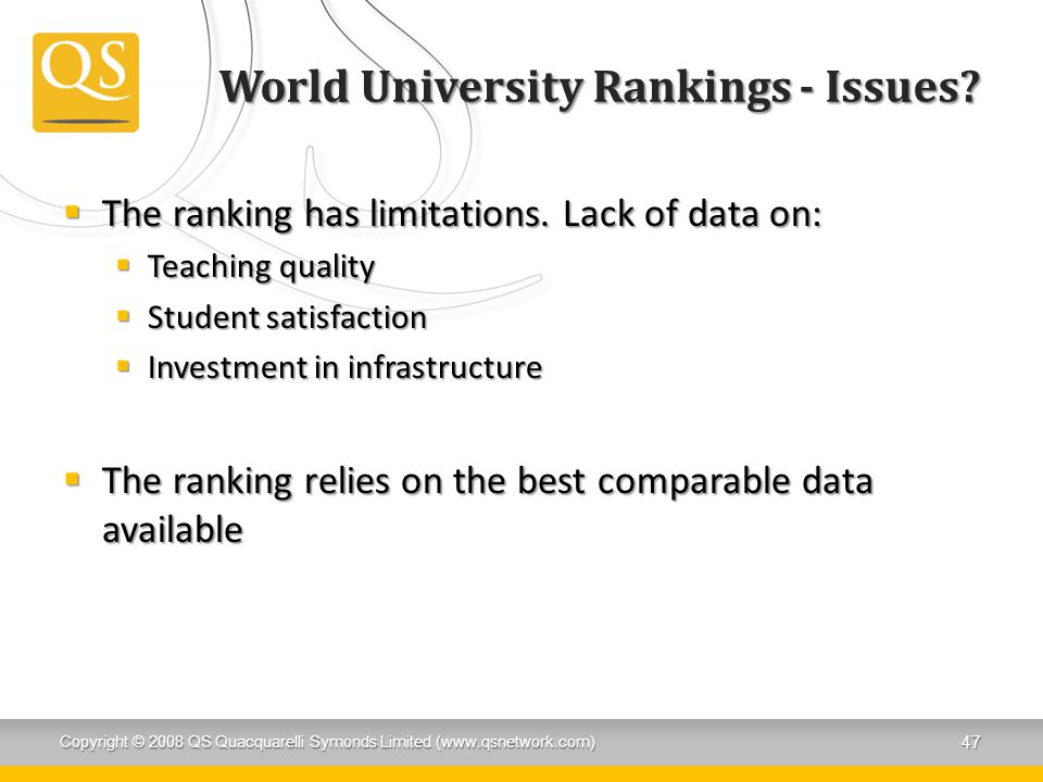 World University Rankings - Issues