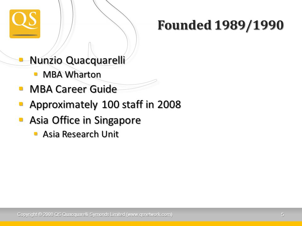 Founded 1989/1990 Nunzio Quacquarelli MBA Career Guide