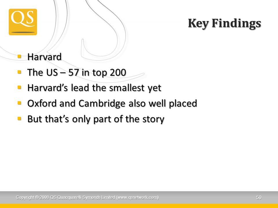 Key Findings Harvard The US – 57 in top 200