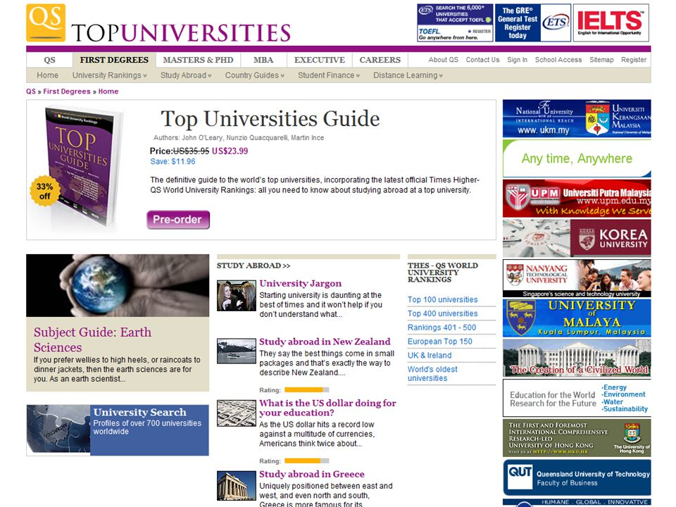 www.topuniversities.com The website...
