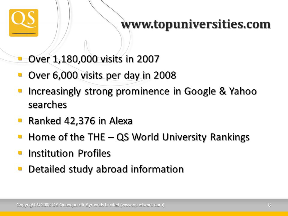 www.topuniversities.com Over 1,180,000 visits in 2007