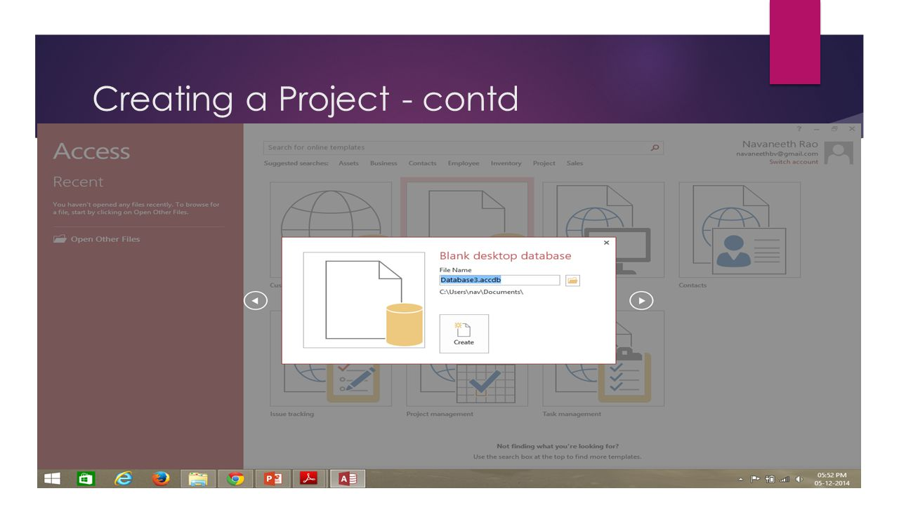Creating a Project - contd