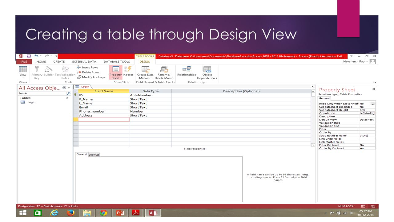 Ms access ppt video online download for Table design view access