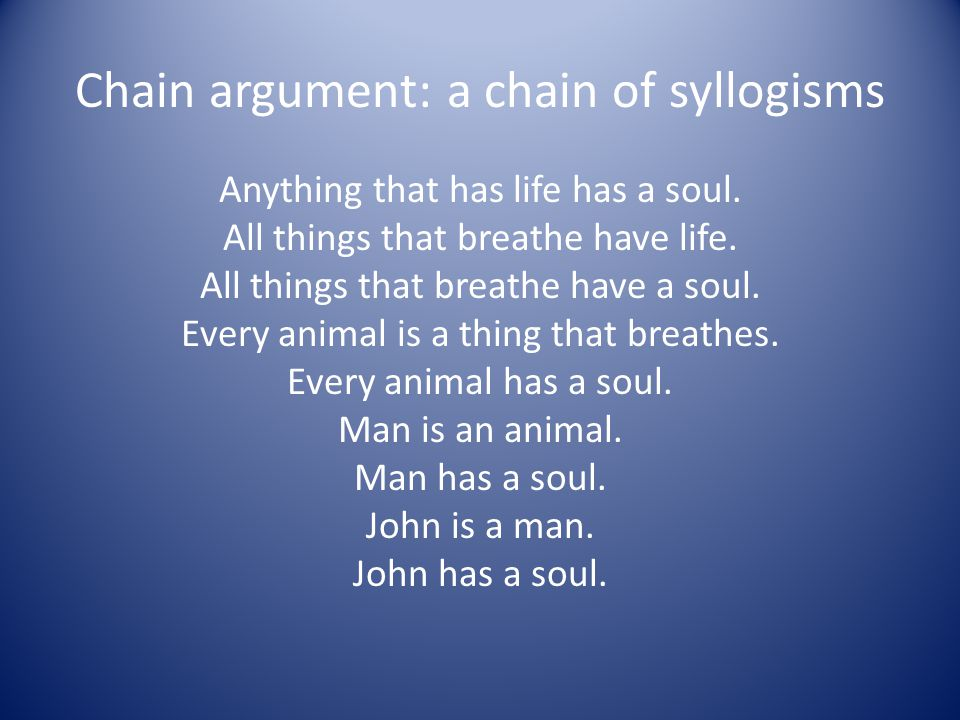 Chain argument: a chain of syllogisms