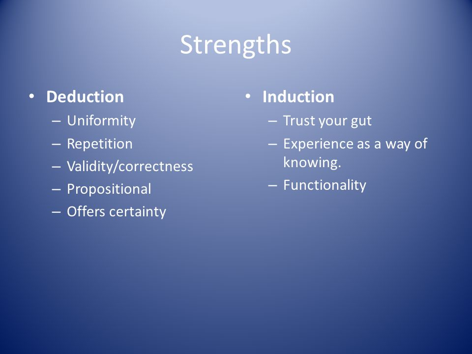 Strengths Deduction Induction Uniformity Repetition