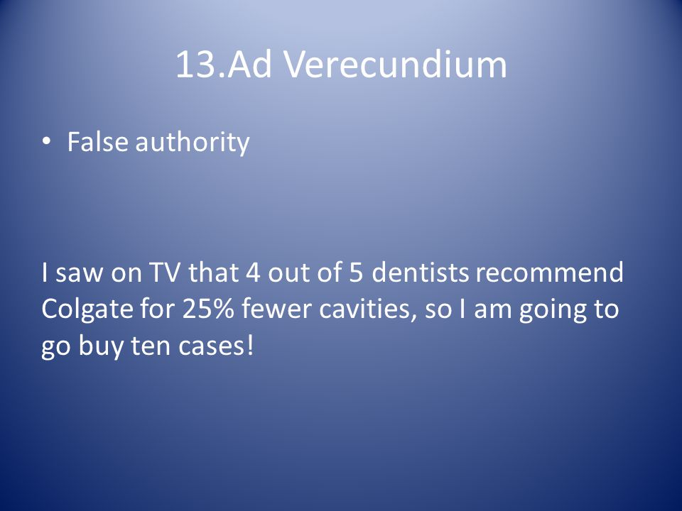 13.Ad Verecundium False authority