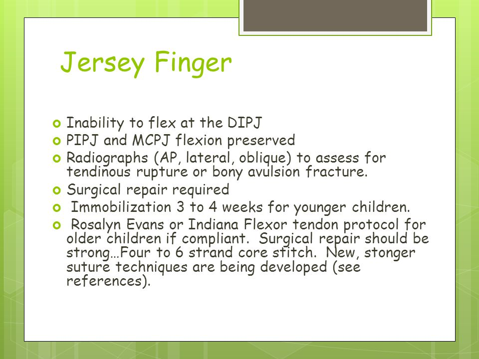 Jersey Finger Inability to flex at the DIPJ