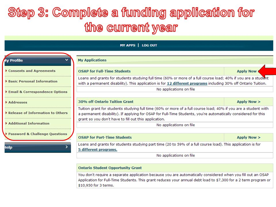 Step 3: Complete a funding application for the current year