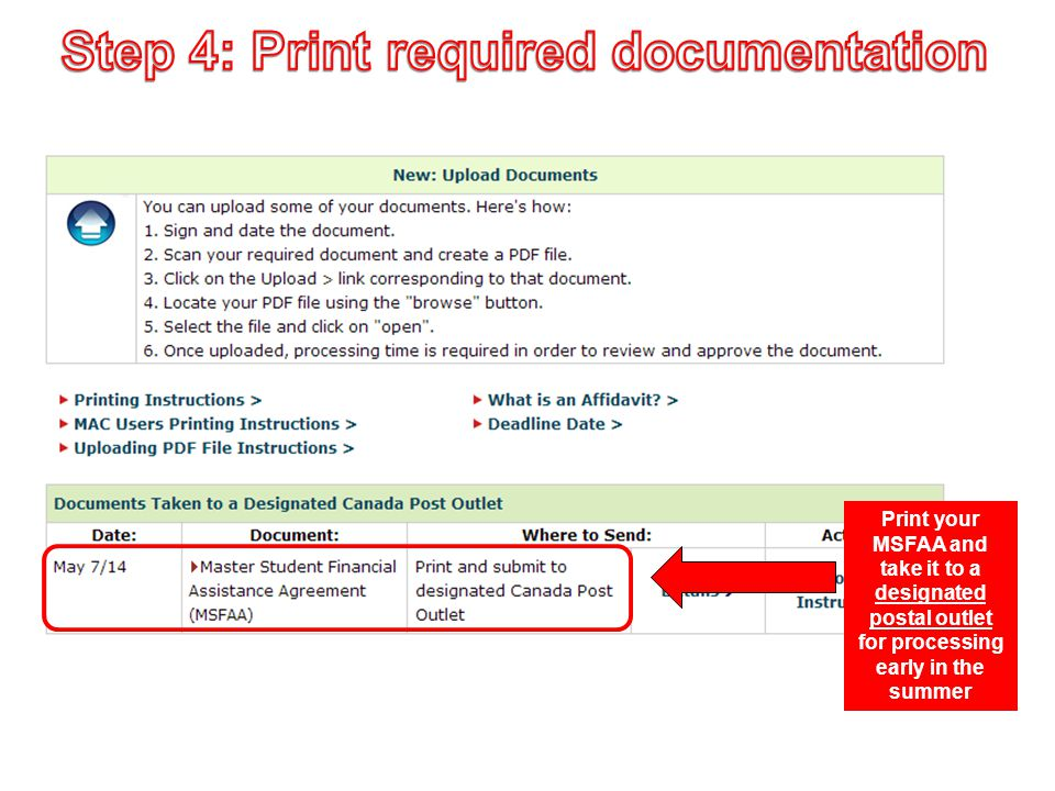 Step 4: Print required documentation