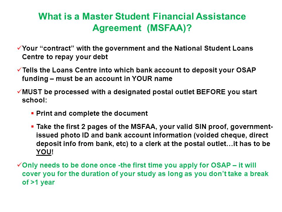 What is a Master Student Financial Assistance Agreement (MSFAA)