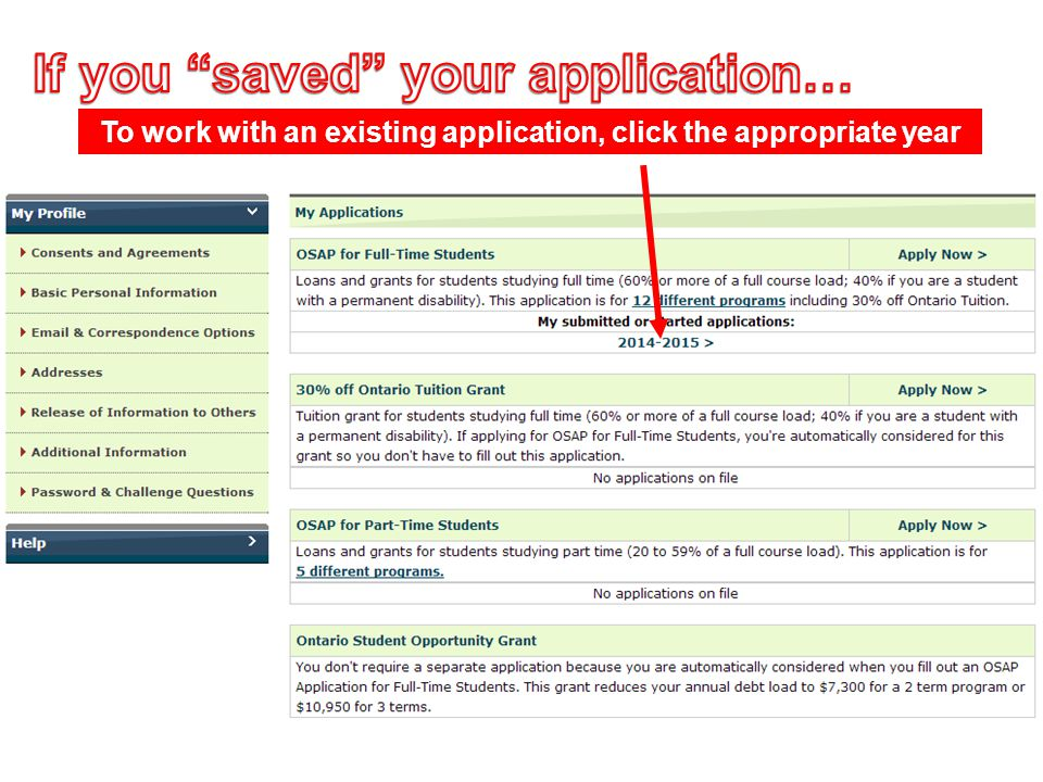If you saved your application…