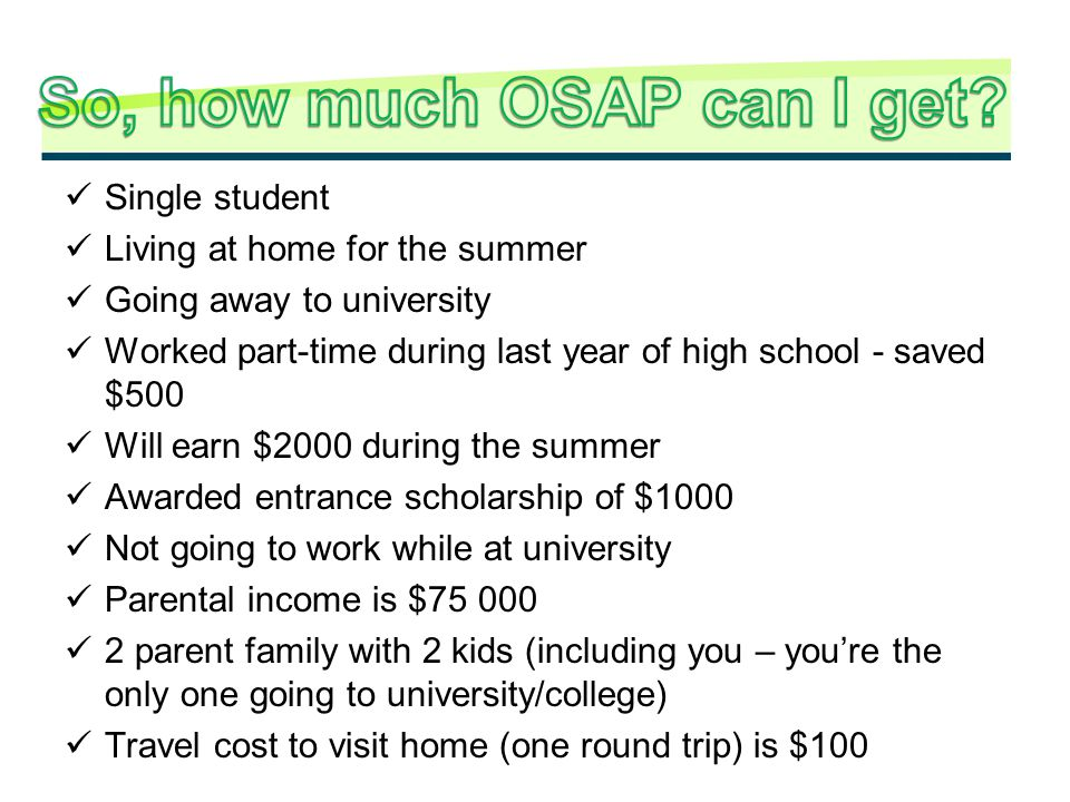 So, how much OSAP can I get