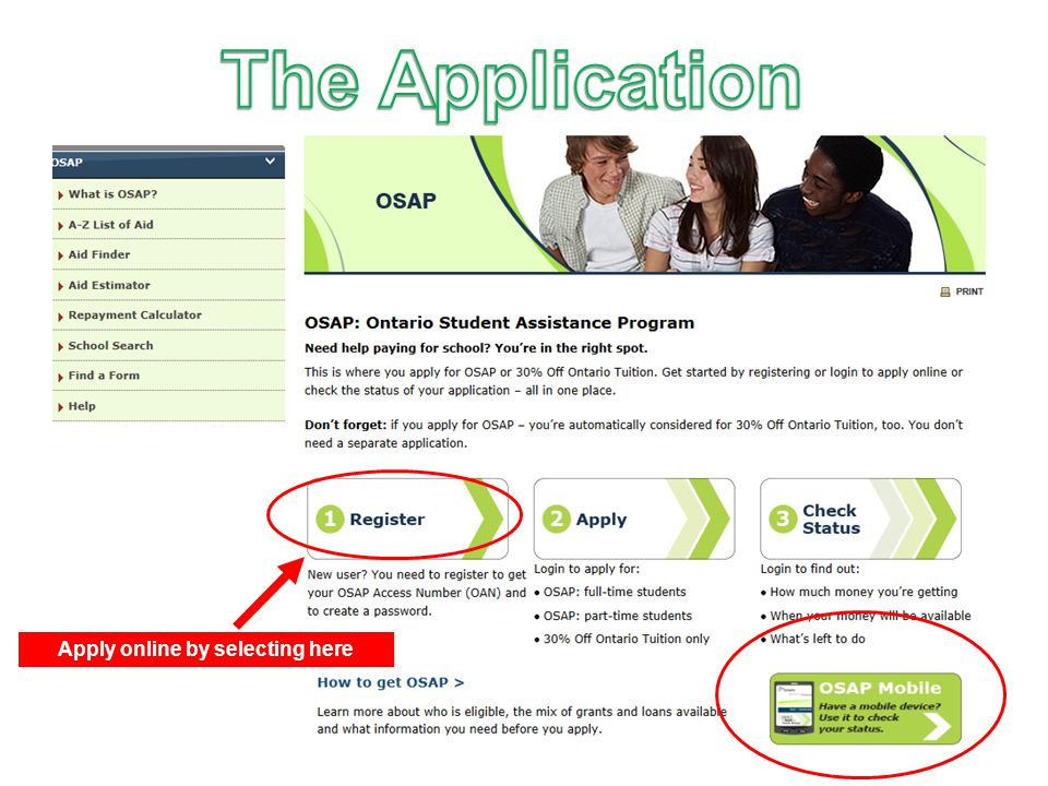 Apply online by selecting here