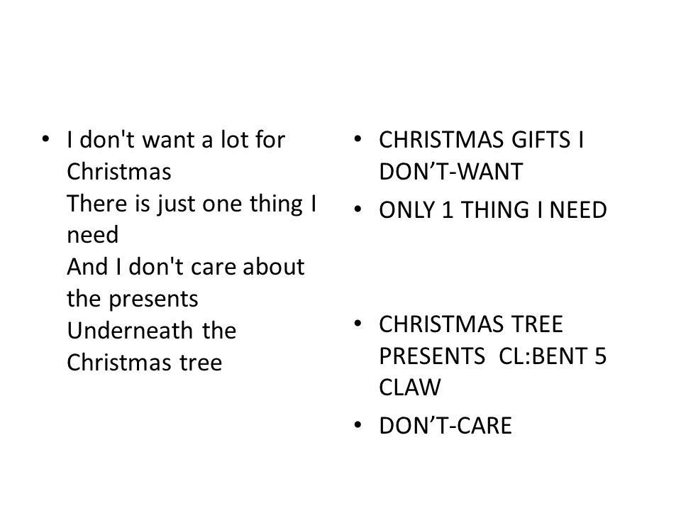 I don t want a lot for Christmas There is just one thing I need And I don t care about the presents Underneath the Christmas tree