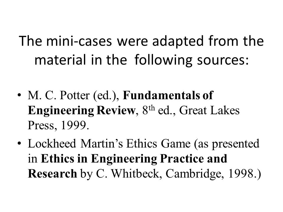 The mini-cases were adapted from the material in the following sources: