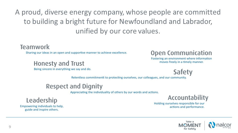 A proud, diverse energy company, whose people are committed to building a bright future for Newfoundland and Labrador, unified by our core values.