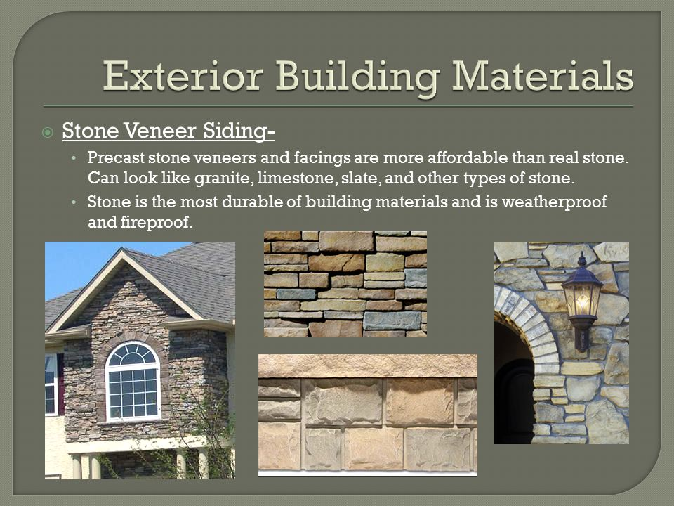 Exterior building materials for Exterior building products