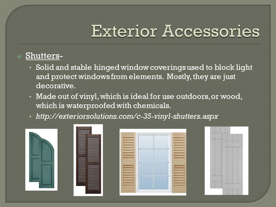 Exterior Accessories Shutters-