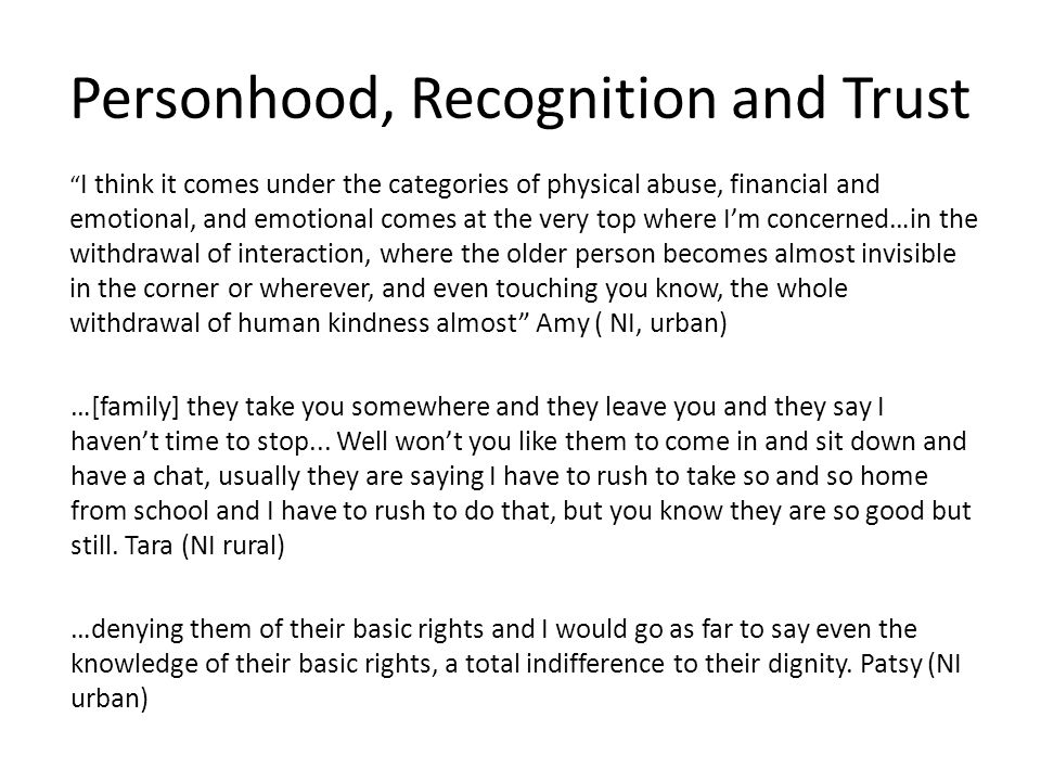 Personhood, Recognition and Trust