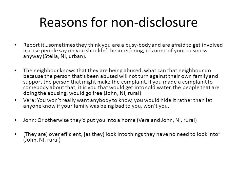 Reasons for non-disclosure