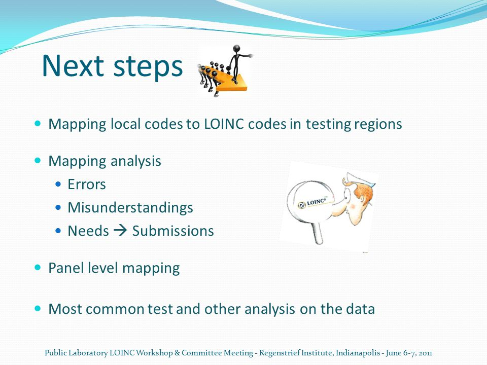 Next steps Mapping local codes to LOINC codes in testing regions