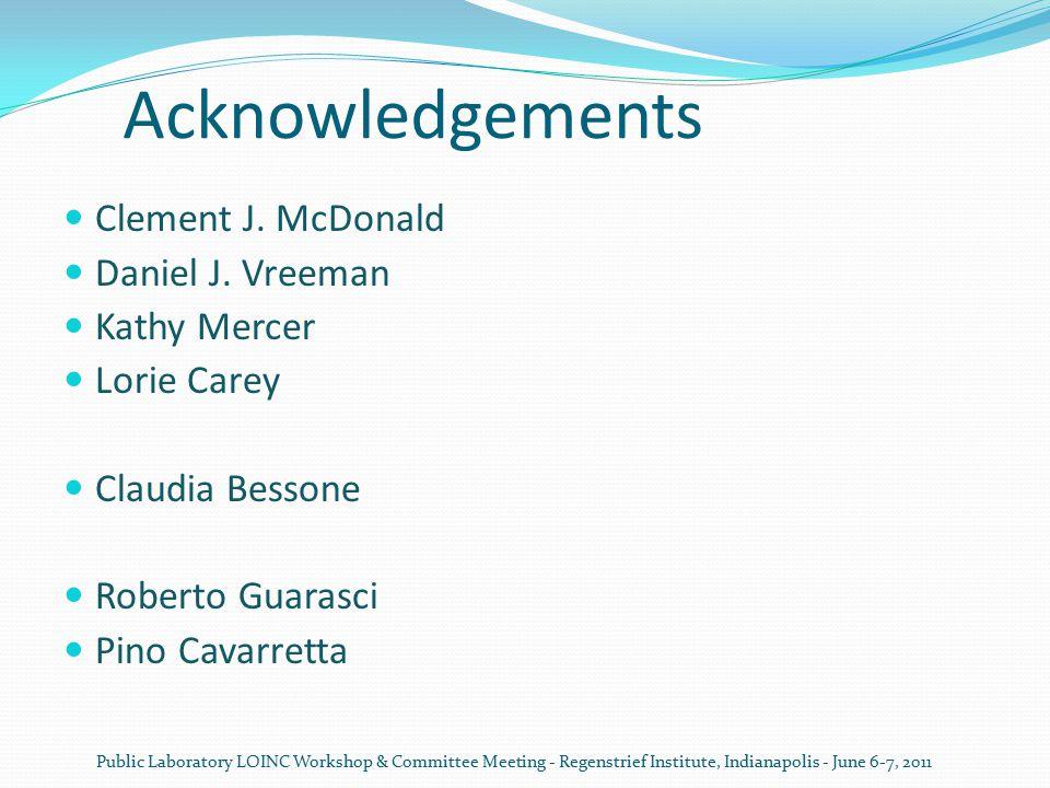 Acknowledgements Clement J. McDonald Daniel J. Vreeman Kathy Mercer