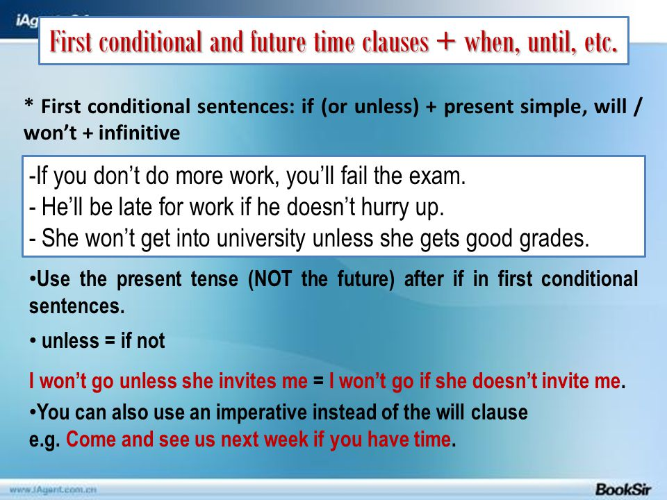 First conditional and future time clauses + when, until, etc.