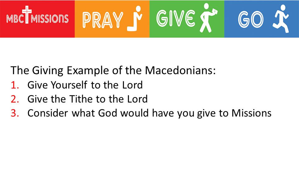 The Giving Example of the Macedonians: