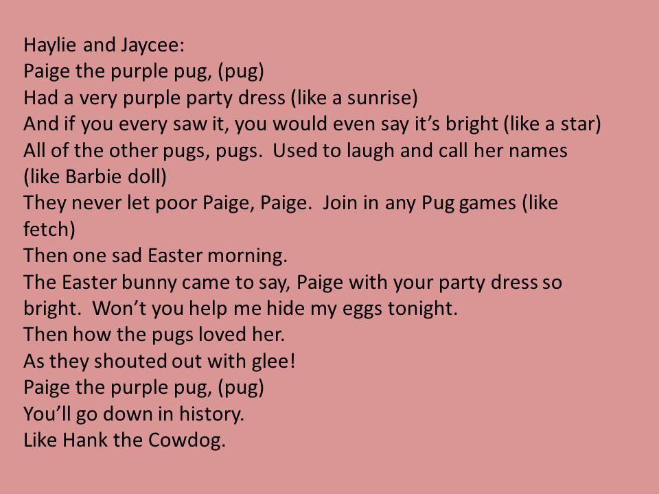 Haylie and Jaycee: Paige the purple pug, (pug) Had a very purple party dress (like a sunrise)